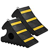 Speedmax 2 Pack Rubber Wheel Chocks Heay Duty Industrial Rubber Wheel Blacks with Metal Handle for Travel Trailer Hauler Truck Fire Truck Commercial Vehicle RV 11.2 x 7.6 x 6'