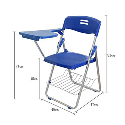 Gangkun Opvouwbare en versterkte klapstoel, met schrijfbord conferentiestoel, gratis eetstoel, bureaustoel receptie stoel reporter stoel Blauw