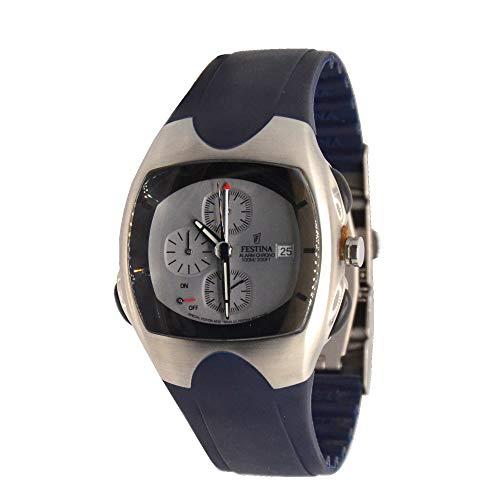 Reloj deportivo Festina con cronógrafo y alarma, correa de goma azul, WR 100 m
