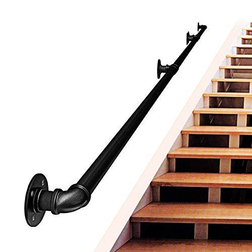 TINS Schwarzer Treppenrohr-Handlauf,Wand-zu-Wand-Haltegriff für ältere Kinder, Schwarzer Schmiedeeisen-Handlauf,Antirutsch-Treppenhandlauf - für den Innen- und Außenbe (4ft/120cm)