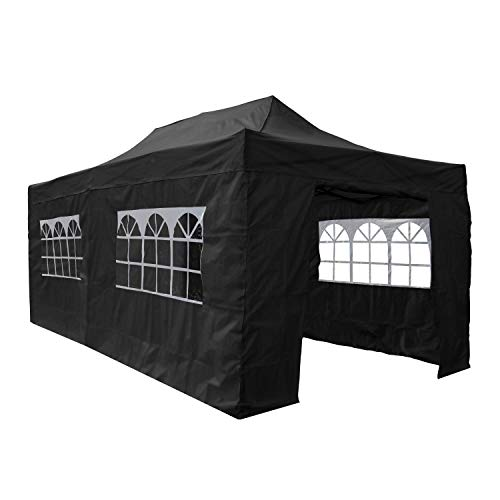 AIRWAVE Gazebo Four Seasons Essential Pop Up Shelter with Sides Waterproof 3 x 6m (Black)