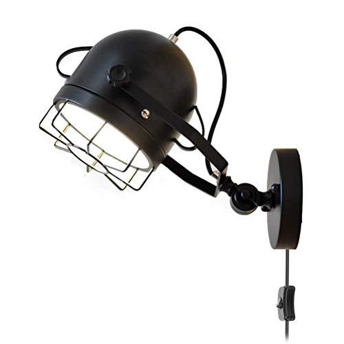 Lámpara de pared industrial vintage negra con interruptor y enchufe, pantalla de jaula, ligero de pared giratoria, lámpara de cama retro de metal, lámpara de lectura, lámpara de dormitorio, E27