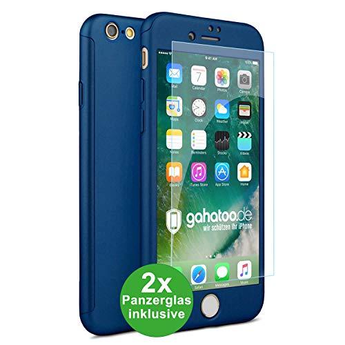 CASYLT iPhone 6 / 6s Hülle [inkl. 2X Panzerglas] 360 Grad Fullbody Premium Handy-Hülle Blau kompatibel für iPhone 6 Komplettschutz Hülle