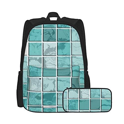 Conjunto de mochila y estuche para lápices, bolsa de ordenador portátil y estuche combinación, mochila de trabajo y estudio y bolsa de cosméticos combinación nervios de color verde azulado