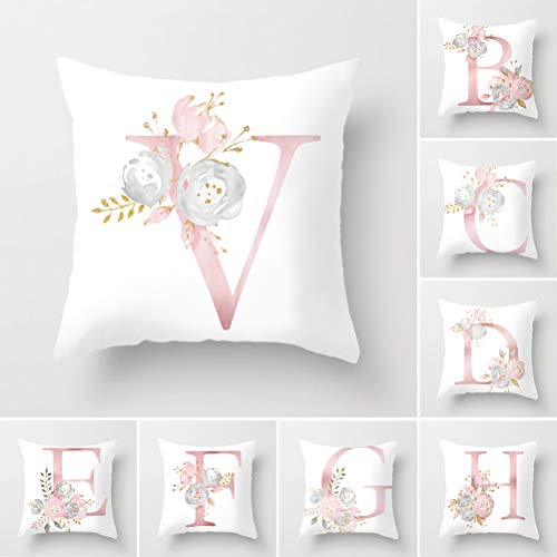 Tillskuch Throw Pillow Covers 26 Decorative English Letters Floral Pillowcases Velvet Soft Cushion Cover White Pillow Protectors for Sofa Bedding Car and Home Decor (18x18 / 45x45cm, Letter V)