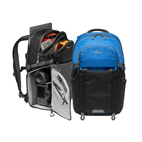 "Lowepro LP37253-PWW Photo Active Zaino Outdoor con Divisori QuickShelf, Laptop 15""/iPad, Vano Idrataz. 3L, per Fotocamere Mirrorless, Sony, Canon, Nikon, Gimbal, Droni, DJI, Osmo, Mavic, Blu/Nero"
