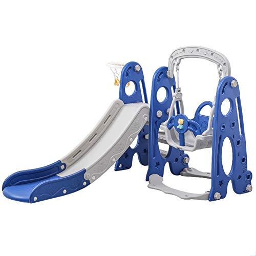 GLY Tobogan Infantil Tobogan Niños Jardin Columpios Infantiles Exterior Tobogan 4 En 1 Set De Juego De Diapositivas con El Oscilación del Aro De Baloncesto, Fácil Subir Escaleras, Juguetes For Niños