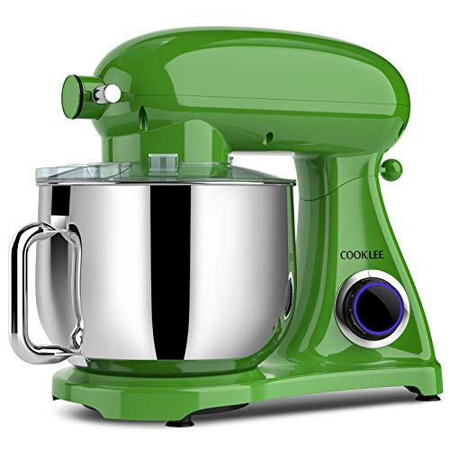 COOKLEE Stand Mixer, 800W 8.5-Qt. Kitchen Mixer 10+1 Speeds with Dishwasher-Safe Dough Hooks, Flat Beaters, Whisk & Pouring Shield, SM-1522NM, Leprechauns Green