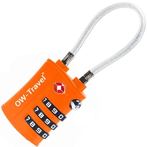 OW-Travel Candado Combinacion Cable Acero Flexible Anti robo. Candado maleta TSA numerico 3 Digitos. Candados mochila y maletas. Candado Taquilla Gimnasio. TSA candado seguridad equipaje Naranja 1