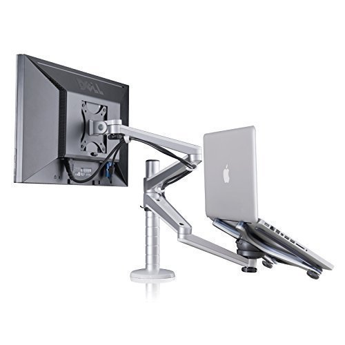 ThingyClub Adjustable Aluminium Universal Laptop Notebook & Computer Monitor Stand Desk Mount Bracket clamp Tilt Swivel Dual Arm Support Holder (Laptop & Monitor)