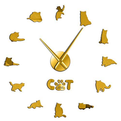 Reloj de pared British Shorthair Cat Decorativo 3D Diy Reloj de pared Gatito Gatito Animales Raza Reloj Reloj Moda Hogar Decoración autoadhesiva Decorativo Para cocina Sala de estar Dormitorio Oficina