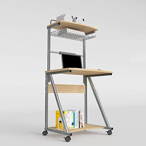 XBSXP Escritorio para computadora portátil de pie con Ruedas, Carro de presentación Carro para computadora con Soporte Deslizante para Teclado Fácil de ensamblar Ahorre Espacio con Home-C