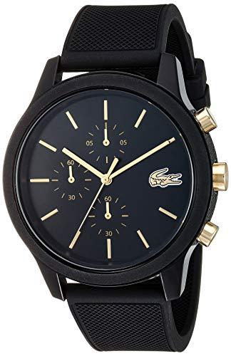 Lacoste Relógio masculino TR90 de quartzo com pulseira de borracha, preto, 21 (modelo: 2011012)