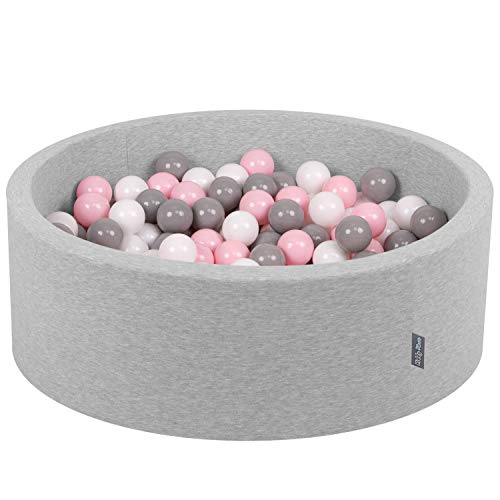 KiddyMoon Bällebad 90X30cm/200 Bälle ∅ 7Cm Bällepool Mit Bunten Bällen Für Babys Kinder Rund, Hellgrau:Weiß-Grau-Rosa