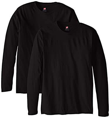 Hanes Men's Long Sleeve Nano Cotton Premium T-Shirt (Pack of 2), Black, Medium