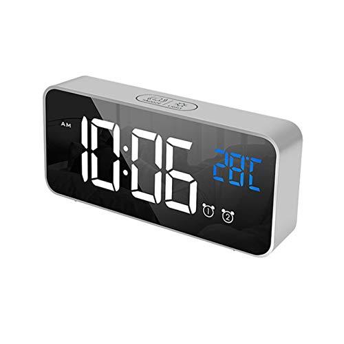 AJDGNL Reloj de Alarma Digital, Reloj Digital con música de Espejo, Control de Voz, Pantalla de Temperatura LED Grande, 4 Brillo Ajustable, Reloj de Alarma Dual con Puerto de Carga USB, Snooze, Plata