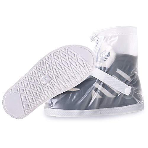 [MaxWant] シューズカバー 靴カバー メンズ レディース 防水 雨 雪 泥除け 滑り止め 軽量 携帯可 (L, ホワイト)