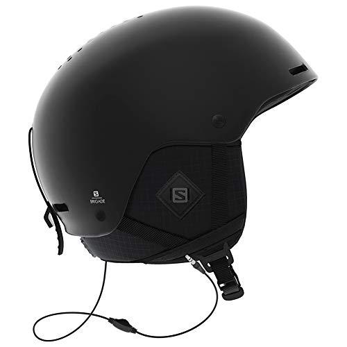 Salomon Herren Ski- und Snowboardhelm mit Audiosystem, ABS-Schale, SMART-Technologie, Größe M, Kopfumfang 56-59 cm, Brigade+ Audio, schwarz (All Black), L40536000
