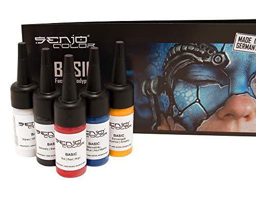 Senjo Color ® Airbrush Farben Set (Für Gesicht & Körper) Bodypainting Farben (5 x15ml) Farben: Schwarz, Weiß, Rot, Gelb & Blau