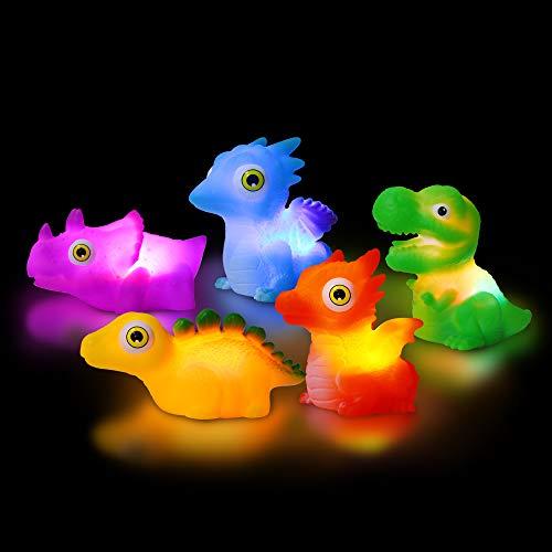 yoliyogo Juguete Dinosaurio de Baño con Luz Parpadeo Modelo Dinosaurio Juego Flotante de Bañera Brillante Figura Set de Dinosaurios Regalo Ideal para Niños