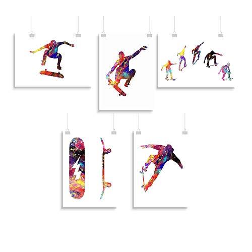 Skateboard einstellen von 5 druckt - Inspirier - Drucken - Poster - Aquarell - Wandkunst- verschiedene Größen(Rahmen Nicht Inbegriffen)