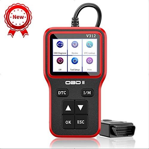 OBD2 Diagnosegerät Auto Fehler Motorkontrollleuchte Auslesen OBD II Diagnose Scanner arbeitet an Autos mit OBD2/EOBD/CAN-Modi mit 16-Pin OBDII-Schnittstelle für Lesen+Löschen Fehlercode/Batterie Test