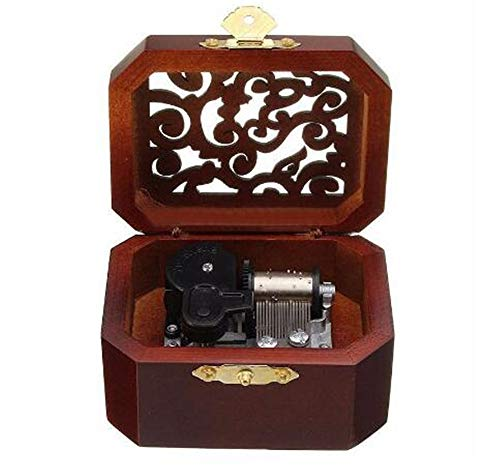 Biscount Mini Hollow Antique Carved Music Box Hand Crank Wooden Musical Box Toy - Hedwig's Theme