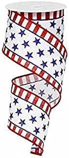 Expressions Stars And Stripes On White Red Royal Blue Wired Ribbon 2.5