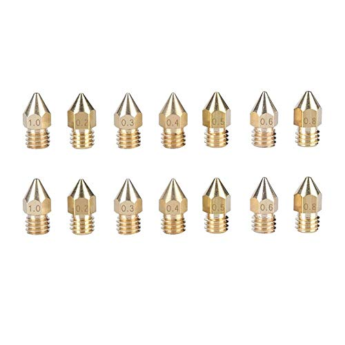 N\C 3D Printer Nozzle Parts,14PCS high-Grade Brass Made of 1.75mm 3D Printer Nozzle kit for Wide Compatibility