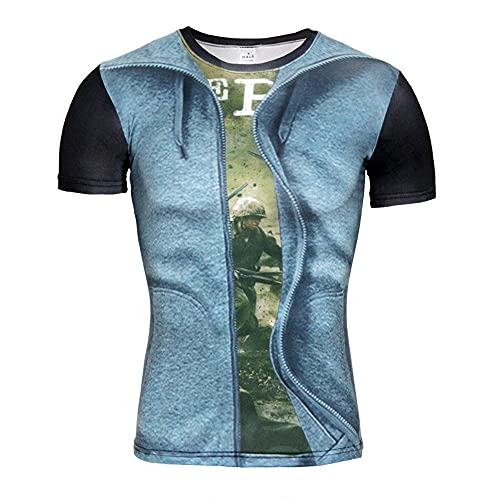 Casuales Camisas Hombre Verano Personalidad Moda 3D Impresión Hombre Camiseta Moderno Básico Slim Fit Cuello Redondo Hombre Manga Corta Diaria Casual All-Match Shirt
