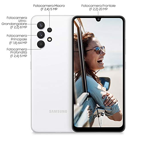 Samsung Galaxy A32 4G Smartphone Android Senza SIM 6.4 Pollici, Display Infinity-U FHD+, 4 Fotocamere Posteriori, 4GB RAM e 128GB, Batteria 5.000 mAh, Awesome White (Bianca) [Versione Italiana]