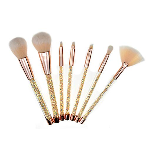 Lfny-bag Pinceaux De Maquillage, 7 Pcs Set Professionnel Transparent Crystal Handle Makeup Brush Set DIY Tube Vide Diamond Sequin Granular Makeup Tool,d'or