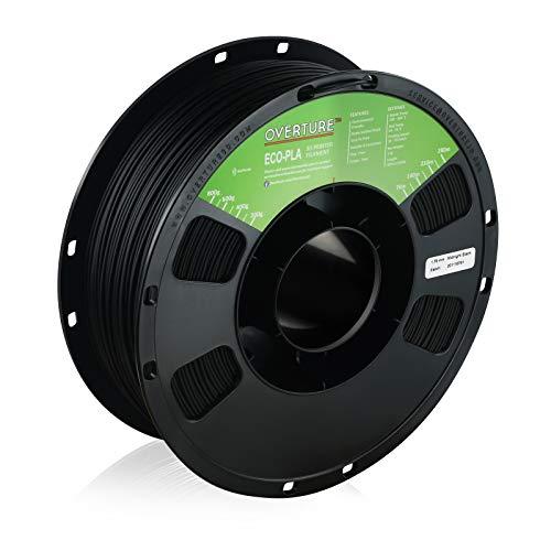 OVERTURE Eco PLA Filament 1.75mm 3D Printer Consumables, 1kg Spool (2.2lbs), Dimensional Accuracy +/- 0.05 mm, Fit Most FDM Printer (Midnight Black)