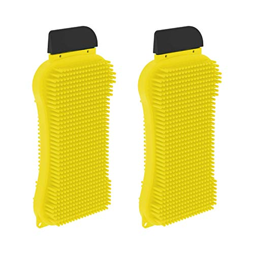 EverScrub Silicone Sponge (2 Pack) Multi-Purpose Kitchen Sponge with Scrubber, Scrapper & Squeegee Functions for Easy & Scratch-Free Cleaning & Dishwashing