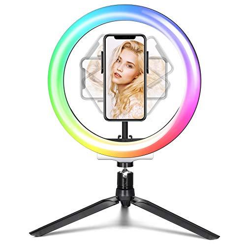 Idefair Luci ad anello RGB, luci per selfie da 10,2'con supporto per treppiede,supporto per telefono a 26 colori RGB,luce per trucco per selfie di bellezza per YouTube Video Instagram