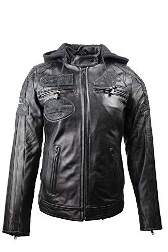 Urban Leather FIFTY EIGHT Ladies | Damen Leder Motorradjacke |Vollständig entfernbare CE-genehmigte Protektoren |Schwarz |XS