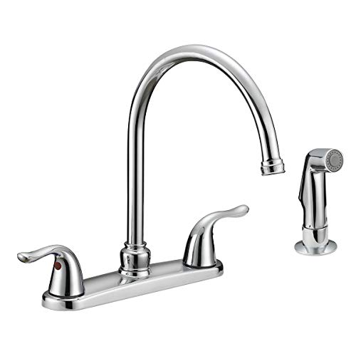 Great Features Of EZ-FLO 10201 2-Handle Kitchen Faucet with Pull-Out Side Sprayer, Chrome, 4-Hole In...