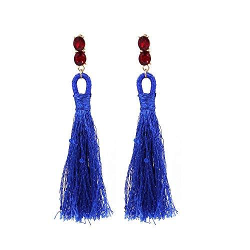 JY Novelty Jewelry-Women Earring Studs Earring Drop Earrings Ear Line,Fashion Ethnic Earrings Hand-Woven Fashion Long Tassel Earrings Blue, Ladies Birthday Gift Eardrop