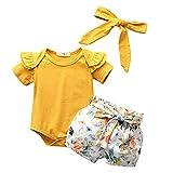 OWildeL Netter Druck Set Baby Hose Sport Set Mädchen T-Shirt & Kurze 3 Stücke Mädchen KleidungBekleidungsset(90,Gelb)