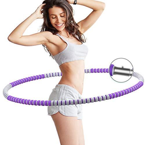 Hula Fitness Hoop para Adultos, AZ GOGO Aro de Fitness Desmontable con Espuma para Bajar de Peso, Weighted Hoola Hoop Hulahop Ajustable y Extraíble, Ideal para Hacer Ejercicio