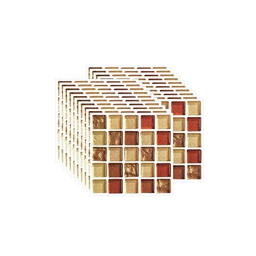 FBBULES 20 Piezas Pegatinas de Pared PVC, Azulejos Adhesivos Resistente Calor Impermeable Protector contra Salpicaduras para Sala Cocina Mosaico Amarillo (10 x 10 cm / 4 x 4 Pulgadas)