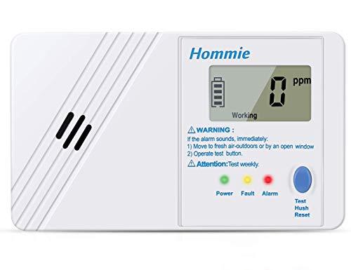 Hommie Detector Monóxido de Carbono Sensor de CO de 10 años con Función Memoria, Alarma de Detector de Monoxido con Pantalla Digital de 1.0 Pulgadas, 85db Altos Decibelios y Pilas Reemplazable, Blanco