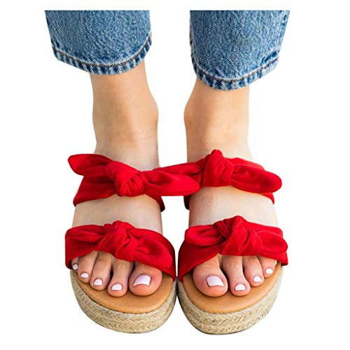 Best Bargain Dainzusyful Women's Slippers Summer Slip-On Front Bow Flat Beach Open Toe Breathable Sa...