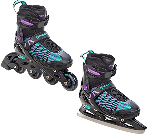 2in1 Schlittschuhe Inline Skates Inliner Raven Cande verstellbar (Black/Mint/Violet, 38-42 (24,5cm-27,5cm))