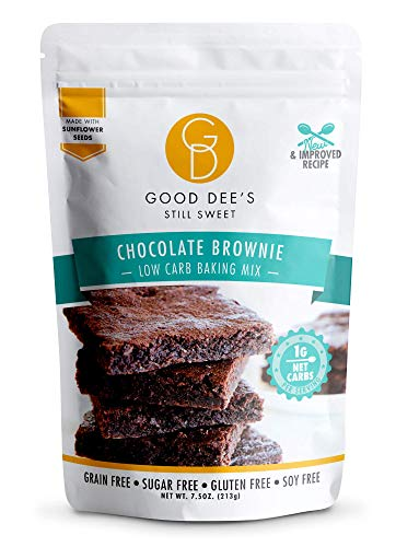 Good Dee's Chocolate Brownie Mix - Low Carb Keto Baking Mix (1g Net Carbs, 12 Servings) | Sugar-Free, Gluten-Free, Grain-Free, Nut-Free, Soy-Free & IMO-Free | Diabetic, Atkins & WW Friendly