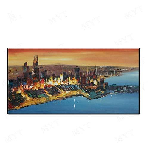 VCYME hand beschilderde olieverfschilderij op doek, abstract moderne architectonische stijl, neon magische stad, groot formaat muur creatieve kunstwerken foto voor woonkamer slaapkamer huisdecoraties (Frameless) 80 X 160 cm / 32 x 64 frameless