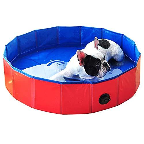Kacniohen Hund Planschbecken, Sturdy Faltbare Welpen Bade Tub Leakproof Badeteich mit Hundebürsten-Glove Außen Pet Pool für Welpen 80 * 20CM Red
