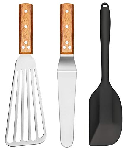 COJOJO 3 Pack Fish Turner Silicone Spatula Angled Spatula Stainless Steel Head Merbau Wood Handle Kitchen Baking Cooking Tools Sets for Flipping Fish Eggs Burgers Crepes and More