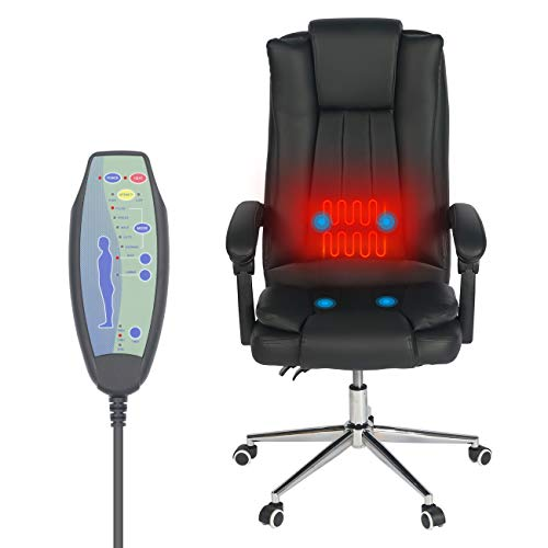 Big and Tall Office Chair with Massage and Lumbar Support Headrest Armrest Rolling Swivel and Waist Heating High Back PU Leather Executive Ergonomic Home Computer Desk Chair for Heavy People Black