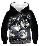 ALISISTER 3D Druck Neuheit Hoodie Kapuzenpullover Kinder Coole Wolf Muster Hooded Pullover Sweatshirt Lässige Party Kapuzenjacke Outwear Tops M